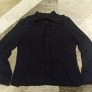 Forever 21 Sheer Black Ruffle Button Top Large